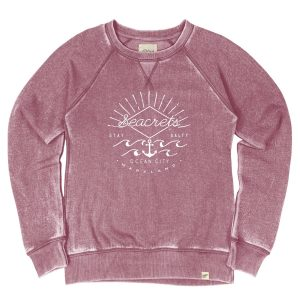 Essence Wave Burnout Crewneck Sweatshirt Cranberry