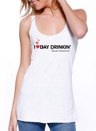 I Heart Bay Drinkin' Tank Top White