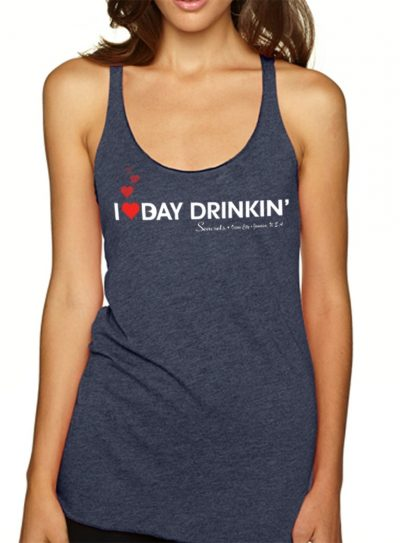 I Heart Bay Drinkin' Tank Top Dark Blue