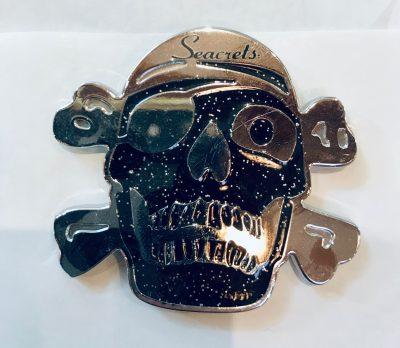 Glitter Skull Magnet Black