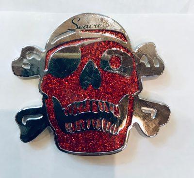 Glitter Skull Magnet Red