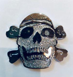 Glitter Skull Magnet Silver