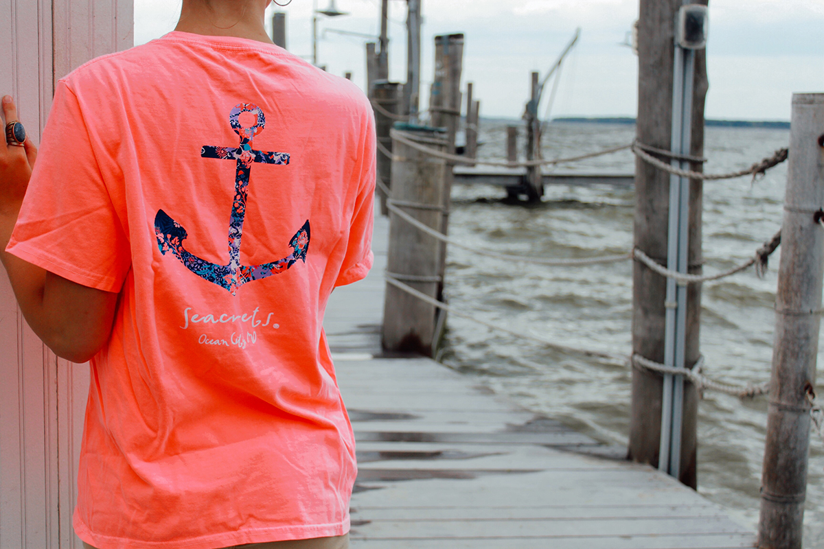 Bright Coral Anchor Tshirt